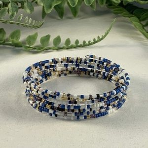 Dainty blue and white stacked beaded bracelet